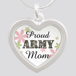 Proud Army Mom [fl2] Silver Heart Necklace